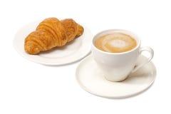 Latte και croissant Στοκ φωτογραφία με δικαίωμα ελεύθερης χρήσης