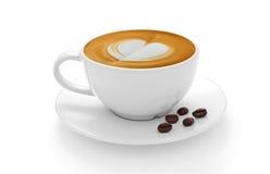 Latte чашки кофе и кофейные зерна изолированные на белизне Стоковое Изображение RF