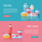 Latte acido e Berry Yogurt Conceptual Banners Fotografia Stock
