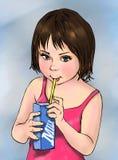 Latte alimentare del bambino sveglio, ragazza sveglia, bambino, bevanda, alimento, latte, prodotto lattiero-caseario, prodotto, n royalty illustrazione gratis