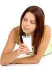 Latte alimentare della donna Fotografia Stock Libera da Diritti