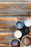 Latte aperte delle pitture, della vernice e della macchia differenti Fotografie Stock Libere da Diritti