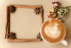 Latte art on brow background Stock Images