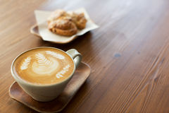 Latte art in cafe Royalty Free Stock Photography