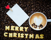 Latte art coffee and alphabet  merry christmas Stock Photos