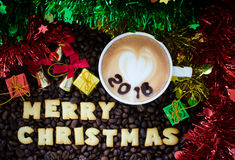 Latte art coffee and alphabet  merry christmas Stock Image