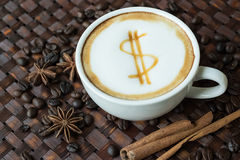 Latte art, coffee with coffee beans Stock Image