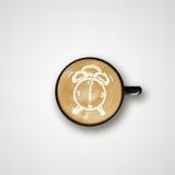Latte Art Coffee Cup del dibujo del despertador Fotos de archivo libres de regalías
