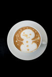 Latte Art Coffee del pupazzo di neve Fotografie Stock