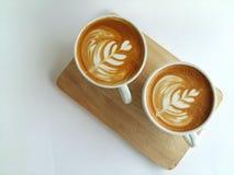 Latte art coffee so delicious on white. Top view Latte art coffee so delicious on white Royalty Free Stock Image