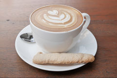 Latte art coffee with heart pattern Stock Photography