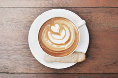 Latte art coffee with heart pattern Royalty Free Stock Photos