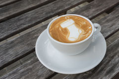 Latte Art Coffee Santa Sock Fotografie Stock Libere da Diritti
