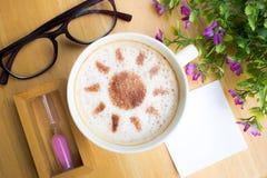 Latte art coffee in sun design Royalty Free Stock Photo