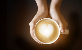 Latte art in heart shape Stock Images