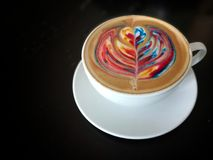 Latte art. Hot latte art in black background royalty free stock images