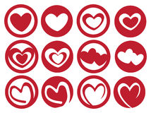 Latte Art Inspired Heart in Cup Vector Icon Set Royalty Free Stock Image
