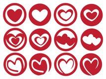 Latte Art Inspired Heart en sistema del icono del vector de la taza Imagen de archivo libre de regalías