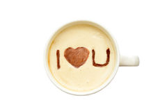 Latte art - isolated cup of coffee with 'I love you' Royalty Free Stock Photos