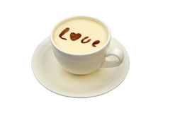 Latte art - isolated cup of coffee with 'love' drawing Royalty Free Stock Photography