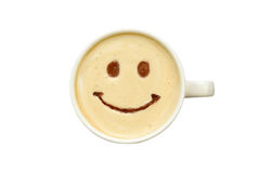 Latte art - isolated cup of coffee with a smile stock images