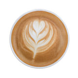 Latte art pattern foam top view isolated on white background, cl. Ipping path included Stock Photos