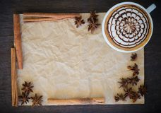 Latte art  on  wrinkled paper background. A cup of coffee with latte art  on  wrinkled paper background, still life Stock Images