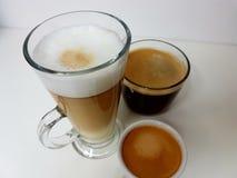 Latte blackcoffee coffee Americano espresso. Mug glass whitemug whitecup whitebackground aroma stock image