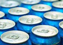 Latte blu fresche dal frigorifero Fotografia Stock