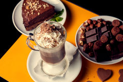 Latte with brownie and chocolate Stock Photos