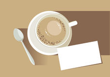 Latte with business card. Vector stock illustration