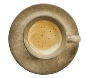 Latte or cappuccino coffee cup with plate on White Background royalty free stock photo