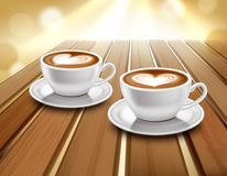Latte And Cappuccino Coffee Illustration. Cups of latte and cappuccino coffee on wooden table realistic vector illustration vector illustration