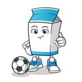 Latte che gioca a calcio l'illustrazione del fumetto di vettore della mascotte illustrazione vettoriale