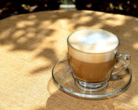 Latte In Clear Glass Cup royalty free stock photo
