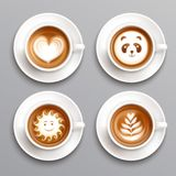 Latte Coffee Art Set. Latte coffee art realistic set with cup and saucer isolated vector illustration Stock Images