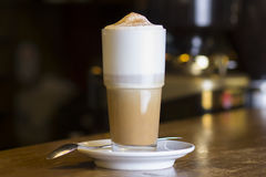 Latte Coffee or caffe latte in tall latte glasses Stock Photos