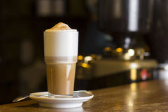 Latte Coffee or caffe latte in tall latte glasses Royalty Free Stock Photo