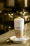 Latte Coffee or caffe latte in tall latte glasses Royalty Free Stock Photos