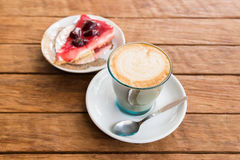 Latte  coffee and cake Stock Images