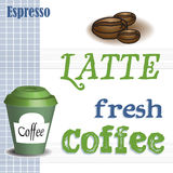 Latte coffee concept. Colorful illustration with coffee beans, coffee cup and the text latte fresh coffee written in green and blue royalty free illustration