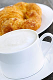 Latte coffee and croissant Royalty Free Stock Image