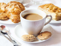 Latte Coffee Cup with Cookies Stock Image