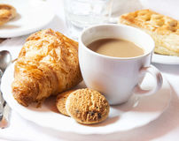 Latte Coffee Cup with Cookies and Croissants Royalty Free Stock Photography