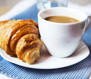 Latte Coffee with French Croissant, Selective Focus Royalty Free Stock Photography