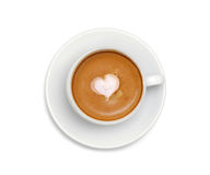 Latte coffee with heart symbol isolated on white Stock Photo