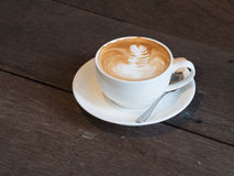 Latte coffee. Hot latte coffee on table in morninf Royalty Free Stock Images