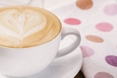 Latte coffee love. Hot coffee latte milk art Stock Images