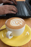 Latte Coffee With Laptop Royalty Free Stock Photos