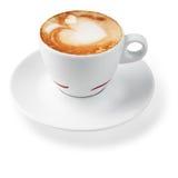 Latte com um teste padrão na forma dos corações Fotografia de Stock Royalty Free